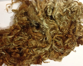 "Suri Alpaca Locks, Olive Color Hand Dyed Locks, 5-6"" Locks, Spinning Fiber, Suri Alpaca Locks"