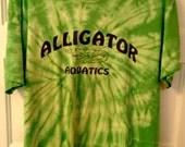 SALE Alligator Aquatics tie dye tshirt Large women green yellow hippie grunge boho