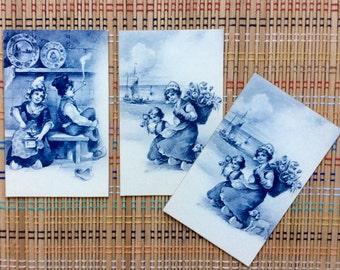 Set of 4 Dutch Illustrated Postcards, Beautiful Blues (r)
