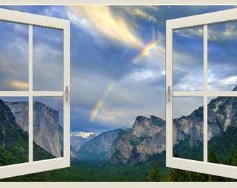 Wall mural window, new frame, Yosemite Valley rainbow- window view-3 sizes available- photo wall decal - free US shipping