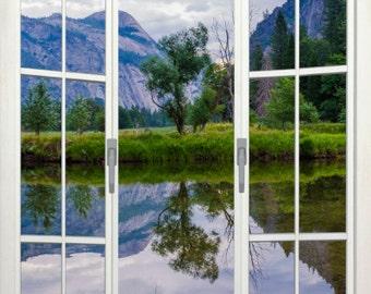 Wall mural french door, self adhesive, Merced river view, Yosemite- free US shipping