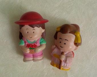 Miniature tiny dolls.. Girls Set 0f 2 pink dress brown hair.. Vintage collection