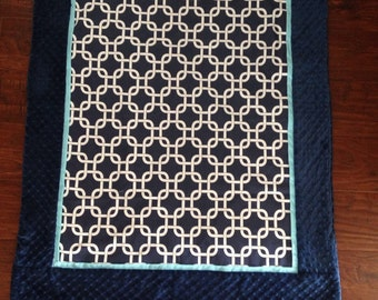 Baby blanket quilt Navy Turquoise minky dot