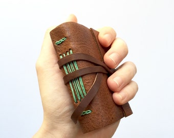 Pocket Leather Journal in Brown & Green. Small Leather Sketchbook Personalized Notebook Leather Travel Diary Gifts for Her for Him Under 50