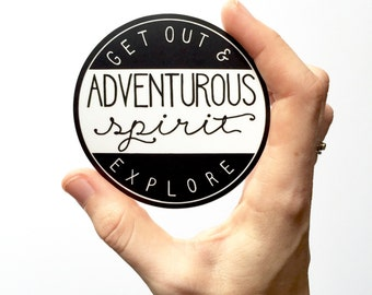 Adventurous Spirit. Vinyl Sticker Hiking Sticker Adventure Stickers Circle Car Decal Laptop Sticker Bumper Sticker Explore MacBook Decals