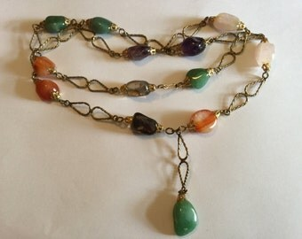 Vintage 1970s Agate Stone Necklace