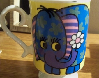 TM Tina elephant mug maDE IN JAPAN vintage