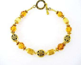 TOPAZ SWAROVSKI Crystal Gold CELTIC Knot Irish Bracelet-Ireland Jewelry