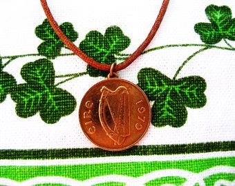 Authentic 1979 Irish Coin Birth Year Necklace/1979 2 pence Copper IRISH Necklace
