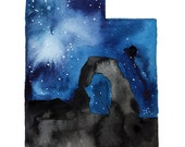 A Starry Night in Utah, print from original watercolor by Jessica Durrant from the Painting the 50 States Project.