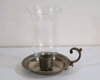 Vintage Pewter Candlestick with Handle and Glass Hurricane Cover
