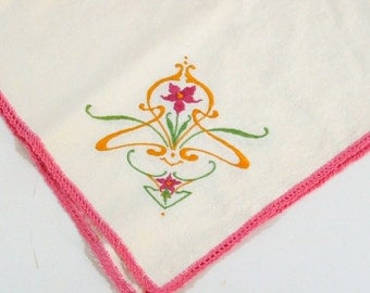 Vintage Tablecloth Embroidered, crochet edging Feed Sack Material