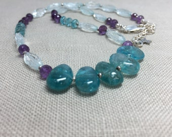 Aquamarine, Apatite and Amethyst Necklace in Sterling Silver