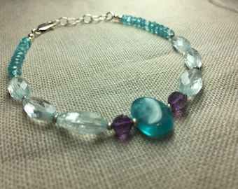 Apatite,Aquamarine and Amethyst Bracelet in Sterling Silver