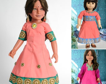 """Indian Anarkali Dress and Salwar PDF Pattern Multi-sized for 18"""" Slim Carpatina or Kidz n Cats and for 18"""" American Girl Dolls"""