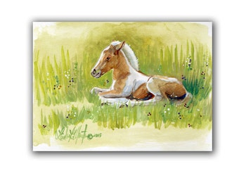 Art Baby Original Chincoteague Pony  Foal Artwork Acrylic Painting LLMartin Virginia Fun Nursery New Mom