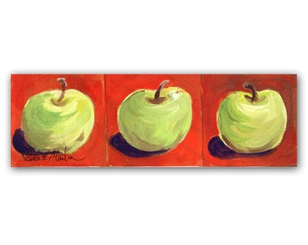 OOAK Folk Art Green Apples Autumn Fall Original Acrylic Painting  LLMartin