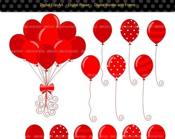 ON SALE balloons clipart, red balloon clipart, kids party Balloons, baby boys birthday balloons clipart, balloons clipart,INSTANT Downloa