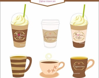 ON SALE coffee cup clipart , Digital clipart coffee cup,  A cup of coffee clipart , instant download clipart