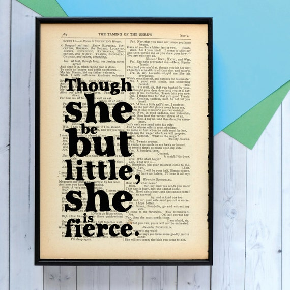 Shakespeare Quote - Though She Be But Little She is Fierce - Framed Print - Framed Quotes - Vintage Book Page - Wall Art - Gift For Her