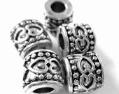 16 large hole beads antique silver textured spacers tibetan style rondelle beads large hole 8mm x 9mm Bus936-R6