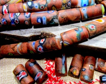 10 African beads handmade venetian glass beads rustic brown ethnic beads millefiori mosaic beads 8mm x 5mm 2603-1-B3