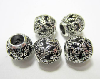 6 large hole beads antique silver textured spacers tibetan style rondelle beads large hole Bus4306-R6
