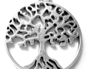10 Silver tree of life pendants nature charms silver tree of life charms 29mm 5347-CC5