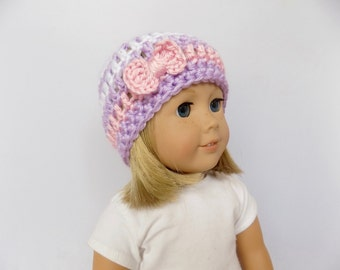 Doll Hat, Striped Doll Beanie, Pink and Purple Doll Accessories