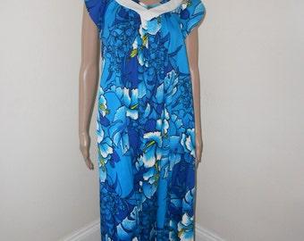 Blue Cotton Hibiscus Print 60's Maxidress/Lounger - Size M-L