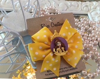 "Disney's Princess Belle Girls Pinwheel 3"" Bow with Aligator Clip"