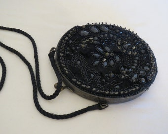 vintage Beaded Bag with silk cross body strap