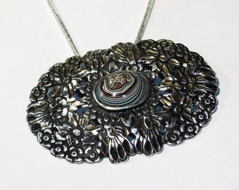 Antique, Sterling Silver Necklace ~ Upcycled with a Beautiful, Detroit, Motor-City Agate, Fordite Cabochon ~ with New Chain ~ mrfeld ~ FN22b