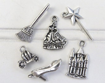 6 CINDERELLA Inspired Charms, Assorted Charm Set Antique Silver, Fairy Tale Collection, Princess Magic Wand Broom Pumpkin Coach Slipper