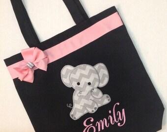 Personalized Elephant Tote bag, Baby Elephant, Elephant baby shower