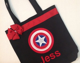 Personalized Tote Bag, Personalized Tote, Captain America Tote Bag, Captain America Tote, Superhero Gift, Personalized Superhero