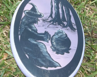 Hand Painted Halloween Decor, Witches, All Hallws Eve, Wiccan, One of a Kind, Halloween Plaque