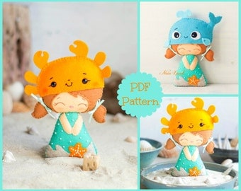 Beach doll. Crab and whale hats. PDF pattern. Felt doll.