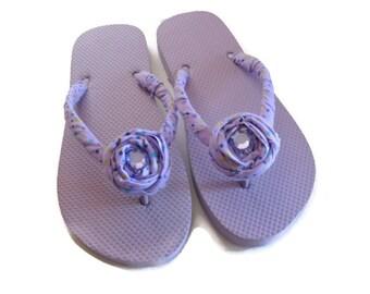 Decorated Flip Flops Lavender Rose Trim