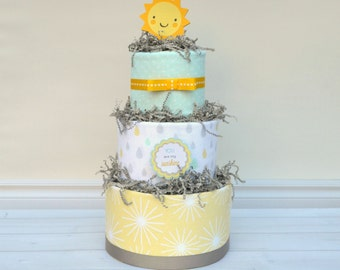 You are my Sunshine Diaper Cake, You are my Sunshine Baby Shower Decoration, Gender Reveal Gift, New Baby Gift, Baby Shower, Baby Sprinkle