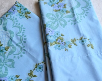 Vintage Pillowcases - Aqua Lavender Roses and Scrolls on Blue - Standard Size Pair NOS