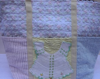 Girl Diaper Bag / Vintage Bib Trimmed Tote