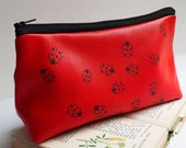Leather make up bag, leather makeup bag, ladybird, cosmetic bag, cute makeup bags, leather pencil case, leather pen case, gift for women