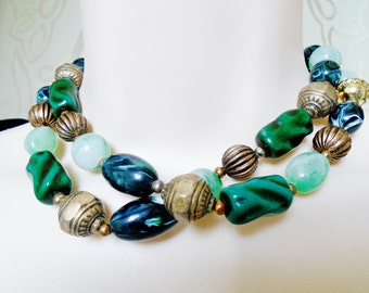"Vintage Brass And Greenery Glass Beads Baroque Marbled Pleated Abstract Multi Shades Of Green 31"" Long Retro Art Deco Runway Statement"
