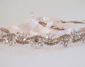 Rose Gold Crystal Rhinestone Bridal Sash,Wedding sash,Bridal Accessories,Bridal Belt and sashes,Ribbon Sash,Style # 52