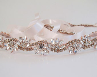 Rose Gold Crystal Rhinestone Bridal Sash,Wedding sash,Bridal Accessories,Bridal Belt and sashes,Ribbon Sash,Style # 52