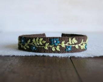 Boho Cuff Bracelet - Dark Teal and Lime Green Floral Embroidery on Brown Linen Bracelet