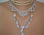 Assemblage Necklace Pearl Choker Statement Jewelry Rhinestone Bib Repurposed Upcycled Vintage Bridal Wedding Jewellery Deco Edwardian Style