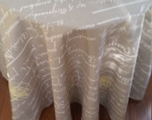 """Round tablecloth 84"""" French stamp, French script, latte beige and natural cotton 409"""