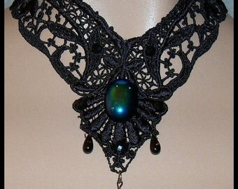 Choker Collar BLACK Venise Lace Victorian Style Gothic Design Fabric Jewelry Wearable Art Runway Aurora Borealis V Neo